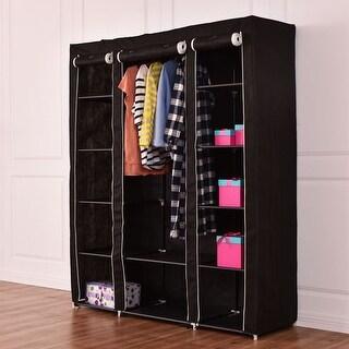 Costway 70u0027u0027 Portable Closet Storage Organizer Clothes Wardrobe Shoe Rack  W/Shelves Black