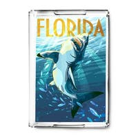 Florida - Stylized Shark - Lantern Press Artwork (Acrylic Serving Tray)