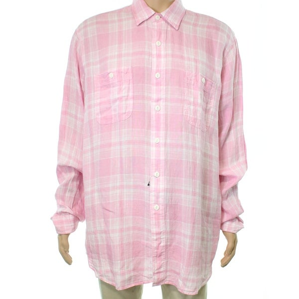4164ad8a4b26 Shop Polo Ralph Lauren NEW Pink Mens Size 2XL Button Down Plaid Linen Shirt  - Free Shipping Today - Overstock - 21248422