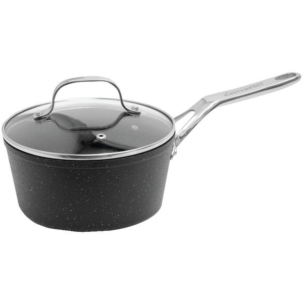 The Rock By Starfrit 060315-004-0000 The Rock(Tm) By Starfrit Saucepan With Glass Lid & Stainless Steel Handles (2-Quart)