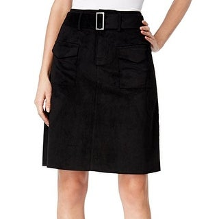 Catherine Malandrino NEW Black Belted Womens 4 A-Line Faux-Suede Skirt