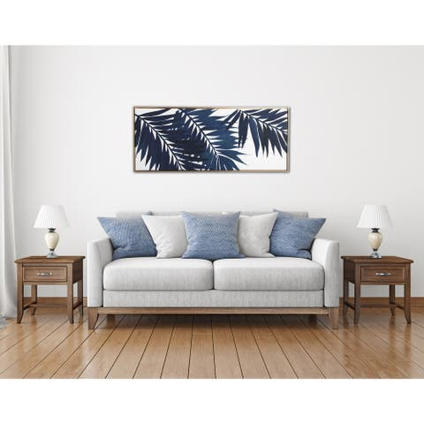 Gallery 57 Blue Palms 19x45 Framed Canvas Wall Art