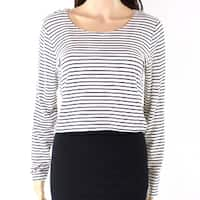 Philosophy White Womens Size Large L Striped Cropped Knit Top