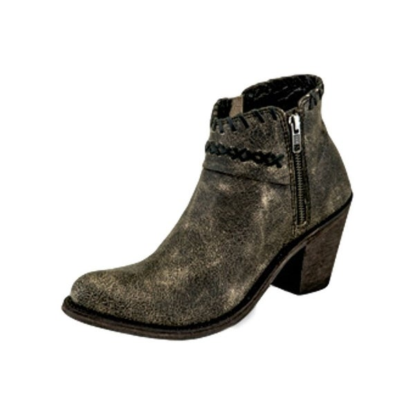 Old West Fashion Boots Womens Ankle Side Zipper Vintage Charcoal