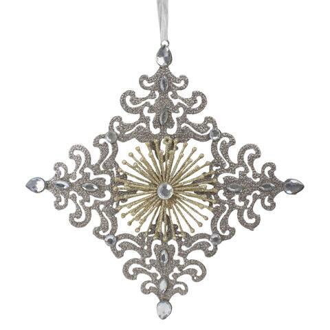 "10"" Metal Glittered 4 Point Rhinestone Snowflake Christmas Ornament"