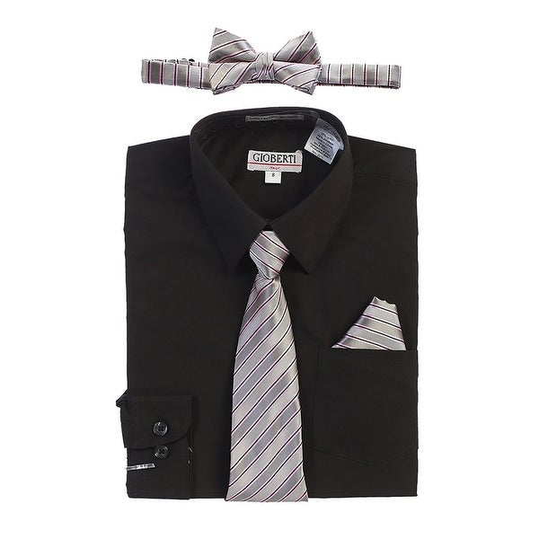 bbf7ef68ac5c2 Shop Gioberti Little Boys Black Shirt Necktie Bow Tie Pocket Square 4 Pc Set  - Free Shipping On Orders Over $45 - Overstock - 21130557