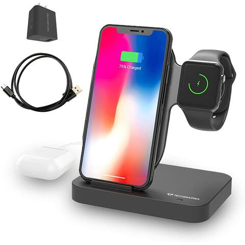 Techsmarter Qi Wireless Charging Station Dock for iPhone, Apple Watch with extra USB-A Port - 18W/10W
