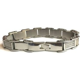 "Mens 8.5"" Stainless Steel Bracelet With Cubic Zirconia And Snap Lock"