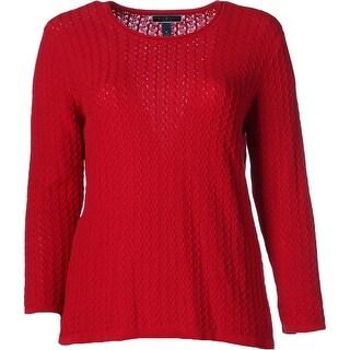 Karen Scott Womens Plus Pullover Sweater Textured Roll Neck