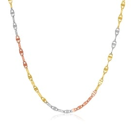 MCS JEWELRY INC 14 KARAT THREE TONE, YELLOW GOLD, WHITE GOLD, ROSE GOLD MARINER CHAIN NECKLACE (1.8MM)