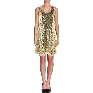 Aqua Womens Sequined Sleeveless Cocktail Dress - L
