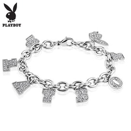Playboy Clear Gems Stainless Steel Charm Bracelet (10 mm) - 8 in