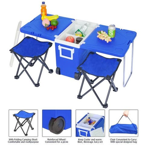 41'' VINGLI Outdoor Picnic Foldable Multi-function Rolling Cooler Upgraded Stool Red/Blue