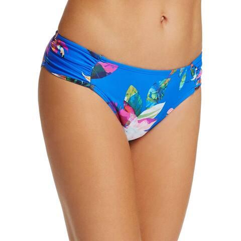 a445d4cc474 La Blanca Havana Floral Shirred Hipster Bikini Bottom 6 Blue Womens Swimsuit