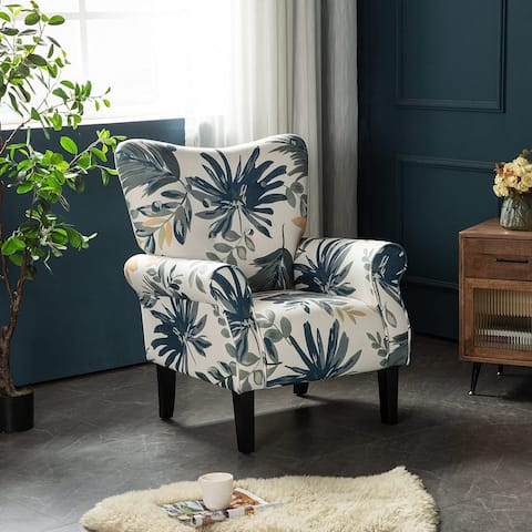 EROMMY Wing back Arm Chair, Upholstered Fabric High Back Chair with Wood Legs