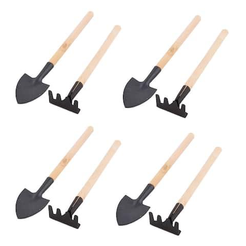 Household Garden Parterre Wood Handle Plant Gardening Digging Planting Tool 4 Sets