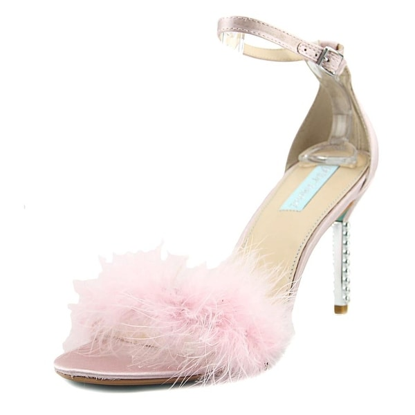 Betsey Johnson Blitz Women Open-Toe Canvas Pink Heels