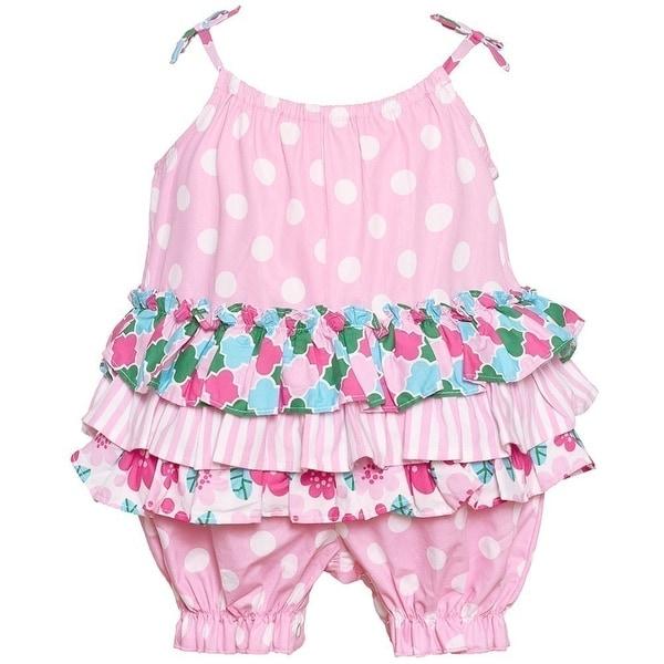 Bonnie Jean Baby Girls Pink Stripe Floral Polka Dot Print Ruffle Romper