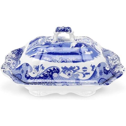 Spode Blue Italian Covered Vegetable Dish - Blue/White