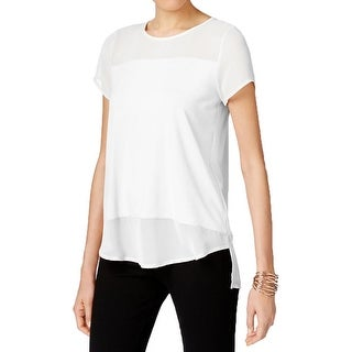 Vince Camuto Womens Pullover Top Sheer Contrast Trim