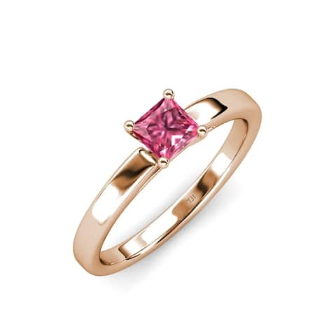 TriJewels Created Pink Tourmaline Solitaire Engagement Ring 1 ct Gold