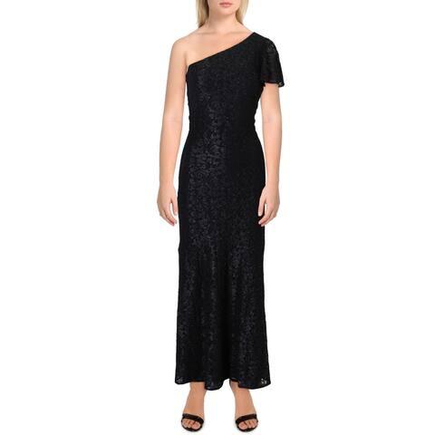 Lauren Ralph Lauren Womens Aven Evening Dress Lace One Shoulder - Black