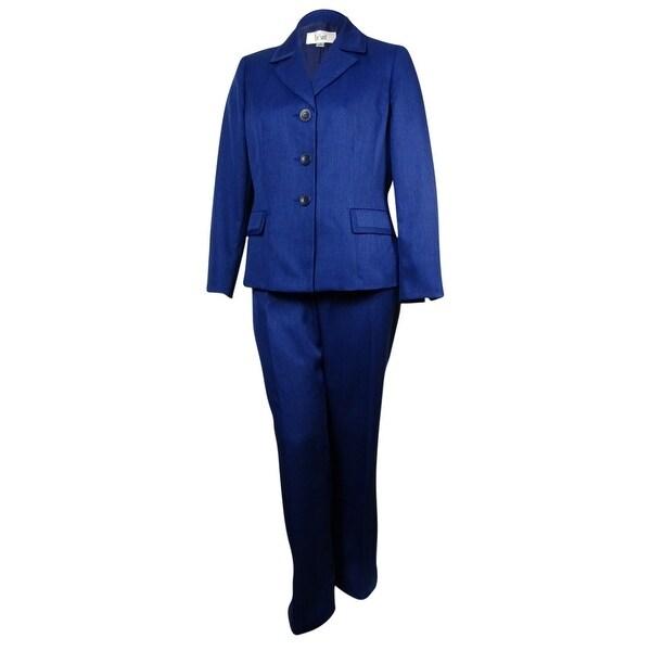 Shop Le Suit Women S St Germain Notch Woven Pant Suit Sapphire