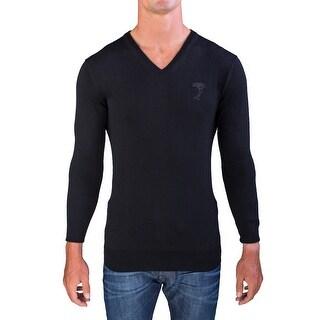 Versace Men's Medusa Head V-Neck Sweater Black