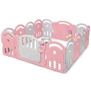 Gymax 14-Panel Kids Safe Playpen Baby Activity Center Playard Home