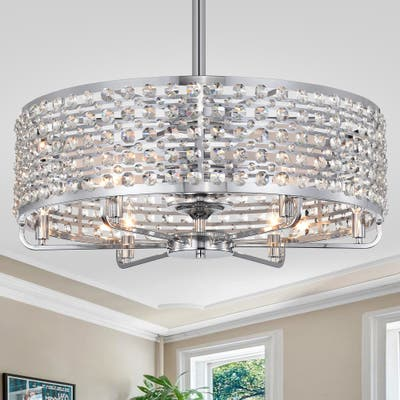 Julian Chrome 28-Inch 6-Light Metal & Crystal Drum Shade Lighted Ceiling Fan (Includes Remote)