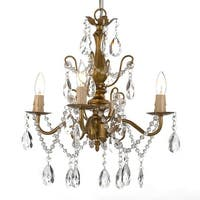 "Wrought Iron and Crystal 4 Light Gold Chandelier H 14"" X W 15"" Pendant Fixture Lighting"