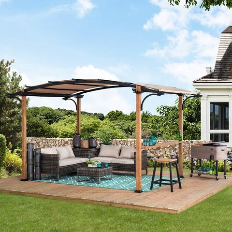 Sunjoy Steel Arched Pergola with Faux Wood Finish (10 ft. x 7.75 ft.)