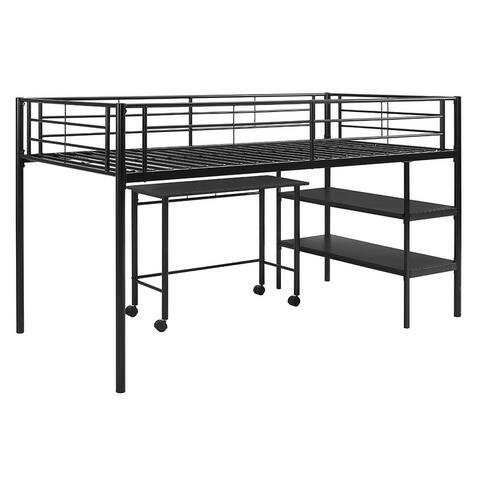 Delacora WE-BDTLD46SP Twin Steel Low Loft Bed with Desk