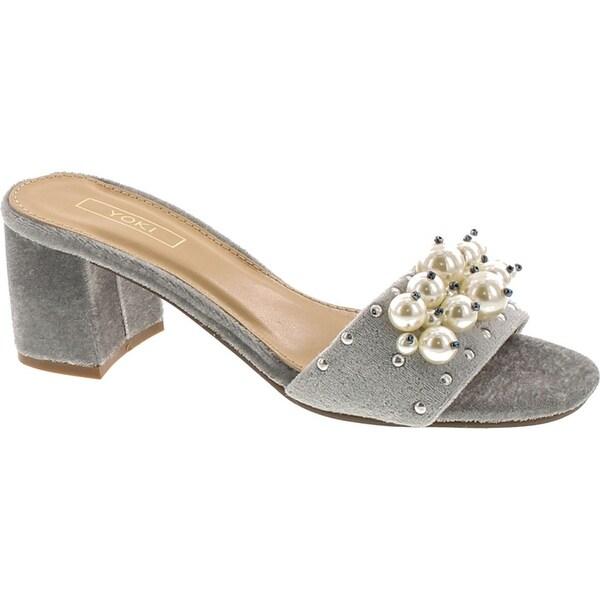 Yoki Delano-18 Womens Pearl Slide Slip On Block Heel Mule Sandal