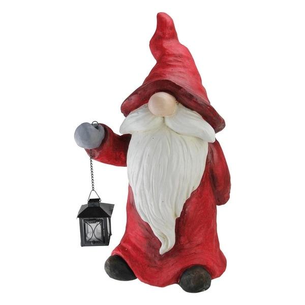 """19.75"""" """"Hear Comes Santa"""" Candy Apple Red and White Decorative Santa Gnome"""