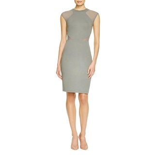 French Connection Womens Cocktail Dress Mesh Inset Sheath
