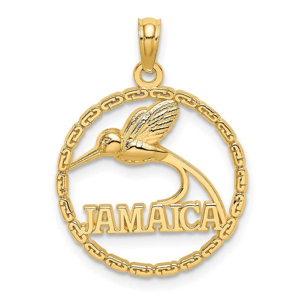 Jamaica Red Billed Streamertail Bird Pendant or Charm in 14K Yellow and White Gold