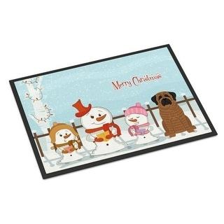 Carolines Treasures BB2346MAT Merry Christmas Carolers Mastiff Brindle Indoor or Outdoor Mat 18 x 0.25 x 27 in.