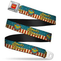 Wonder Woman Logo Full Color Red Wonder Woman Logo Americana Red White Blue Seatbelt Belt