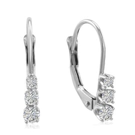 Amanda Rose AGS Certified 10K White Gold Three Stone Diamond Leverback Earrings 1/4cttw