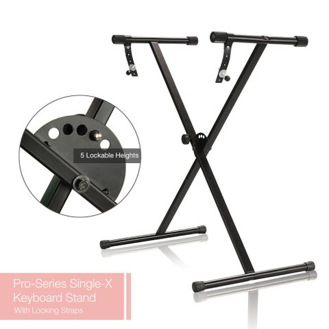 PARTYSAVING Pro Series Portable Single-X Keyboard Stand with Locking Straps