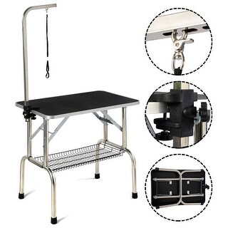 Costway Large Portable Pet Dog Cat Grooming Table Dog Show W/arm & Noose & Mesh Tray - Black