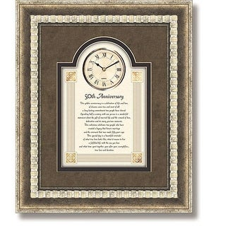 CB Gift 90655 15 x 18 Framed Wall Clock - 50th Anniversary
