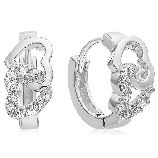 Mcs Jewelry Inc STERLING SILVER 925 CUBIC ZIRCONIA EARRINGS WITH INTERLOCKING HEARTS EARRINGS