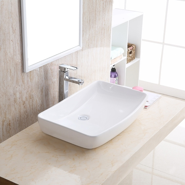 """Karran VC-504-WH Valera 24"""" Vitreous China Vessel Bathroom Sink in White. Opens flyout."""