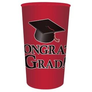 "Club Pack of 20 Red ""Congrats Grad!"" Graduation Party Souvenir Tumbler Drinking Cups 22 oz."
