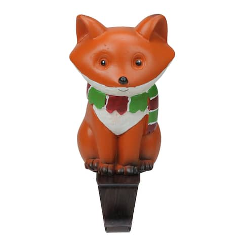 """9"""" Standing Fox Wearing a Striped Scarf Christmas Stocking Holder"""