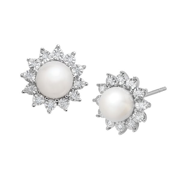 Freshwater Pearl and 1/8 ct Diamond Stud Earrings in 14K White Gold