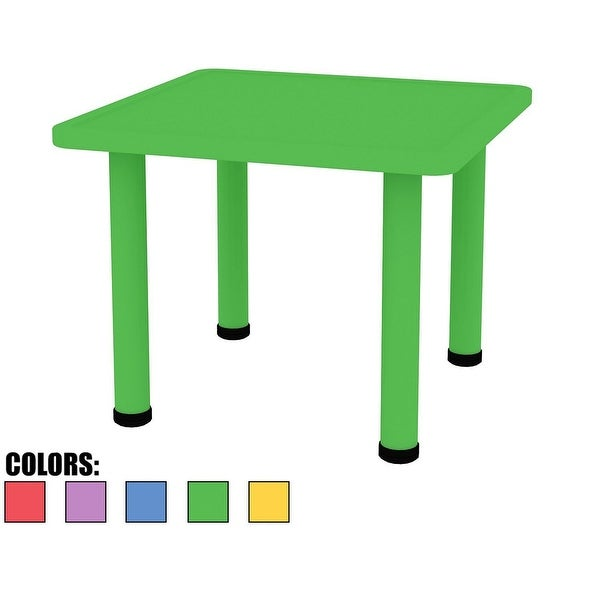 2xhome Adjustable Height Kids Plastic Activity Table Metal Leg Square Desk Dining Bedroom Kitchen Toddler Child Preschool Green