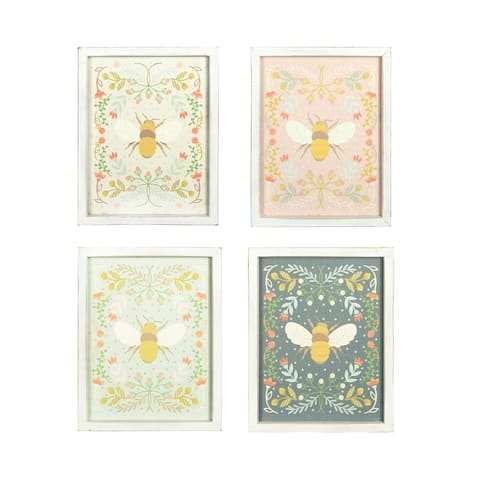 """16""""H Florals & Bee Wood Wall Decor (Set of 4 Styles) - Multi"""